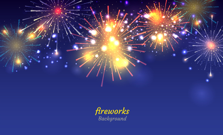 Colorful Fireworks on night sky background. Vector illustration