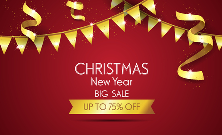 Christmas sale design template. Vector illustration, special offer shopping illustration. 矢量图像
