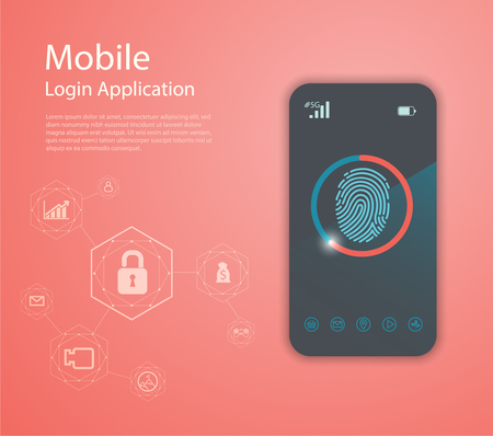 Vector Media technology illustration with mobile phone and icons. Login Application with finger print Form Window. 矢量图像