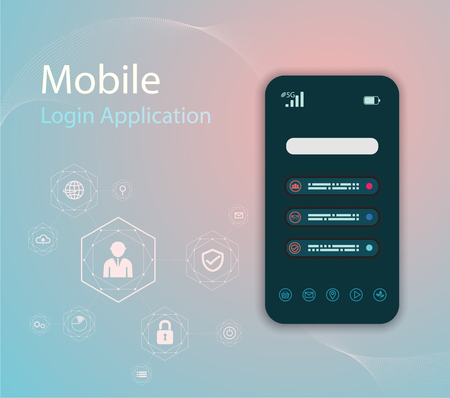 Vector Media technology illustration with mobile phone and icons.Login Application with finger print Form Window. 矢量图像