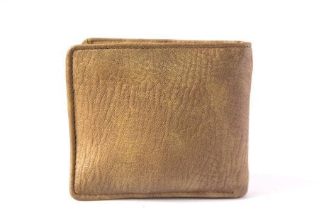 A brown wallet on white background photo
