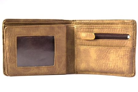 inside leather brown wallet photo