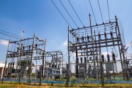 electrocution: Mini powerhouse and blue sky Stock Photo