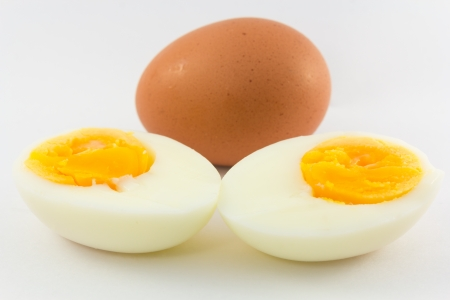 Boiled eggs isolated on white background photo