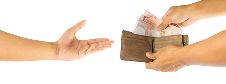 payee: Thai money and brown leather wallet in hand and payee isolated on white background