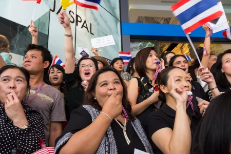 amnesty: BANGKOK,THAILAND - NOVEMBER 7, 2013 : The Unidentified Thai people,Office worker, university students, and few foreigner protest against the disputed amnesty act in Asoke junction and the BTS Elevated train station, Bangkok Editorial