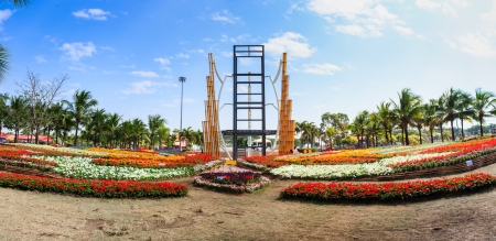 KHON KAEN,THAILAND - DECEMBER 19: Panorama shot of the flower festival around the AMAZING FLOWER FESTIVAL 2013 on December 19,2013 in Thung Sang Lake, Khon Kaen