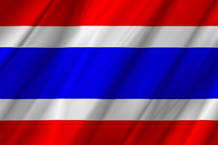 thai silk: Thailand flag on fold soft and smooth luxury satin fabric texture background
