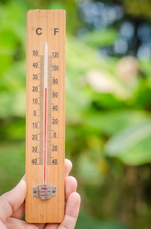 termometer: Wooden thermometer in left male man hand and blurred bokeh nature background