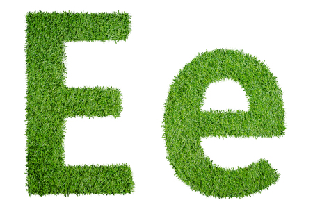 ee: Green grass alphabet E.e in capital letter and small letter isolated on white background Stock Photo