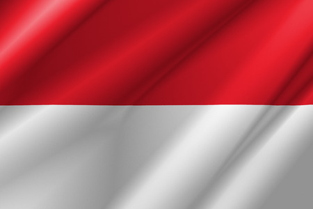 Monaco flag on fold soft and smooth luxury satin fabric texture background