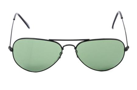 Black lenses  aviator sunglasses isolated on white background