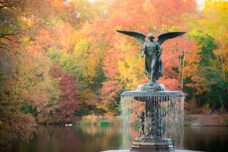 Bethesda Fountain in fall foliage Central Park, New York City