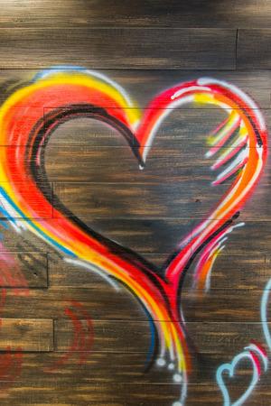 Heart on wood photo