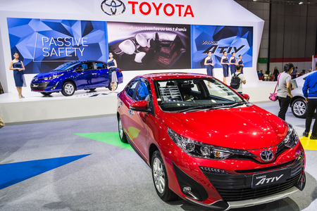 BANGKOK - AUGUST 21, 2017 : Toyota Yaris Ativ on display at Bangkok International Grand Motor Sale 2017(Big Motor Sale) in Bangkok, Thailand