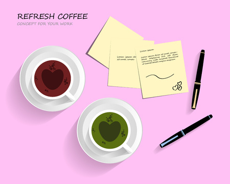 Work space pink background concept design,Coffee and green tea with heart bubbles.And office equipment business desk work,Post-it Notes,Luxury Pen. Illustration