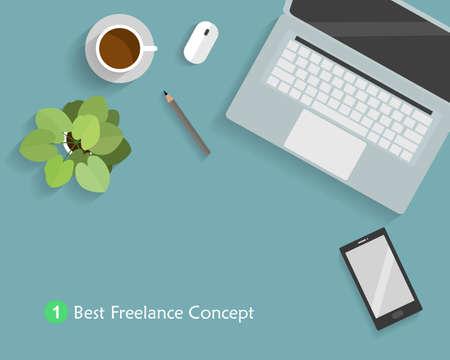 Lieu de travail avec ordinateur portable, un crayon, un petit arbre, souris, café et tablette concept pour travailleur et pigiste. Illustration vectorielle de bureau de papeterie de bureau. Vecteurs