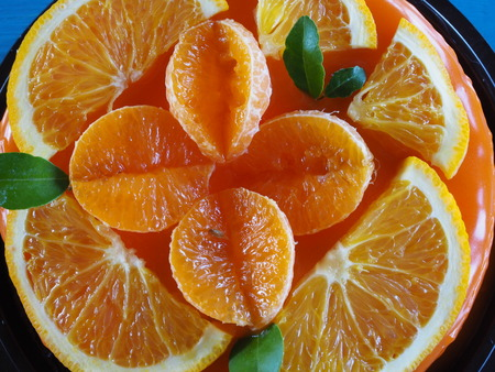 Orange Cake with orange topping Reklamní fotografie - 114325164