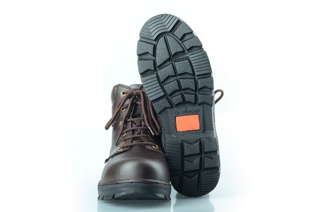 steel toe boots: safety boots isolated on white
