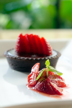 Dessert - Chocolate Cake with Fresh Strawberry Stock Photo