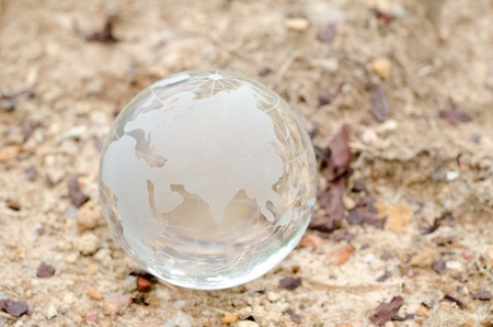arid climate: glass globe on dry soil- global warming concept