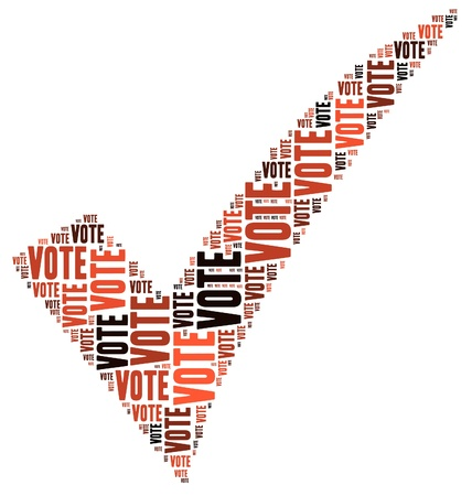election debate: VOTE -text graphics and arrangement concept on white background (word cloud)