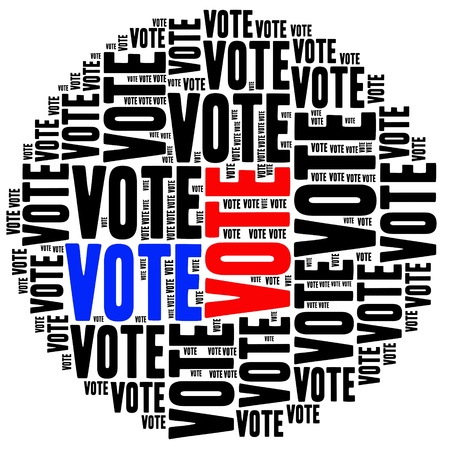 VOTE -text graphics and arrangement concept on white background (word cloud) photo