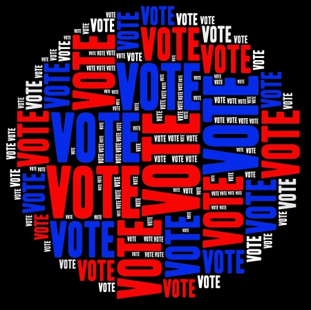 VOTE -text graphics and arrangement concept on white background (word cloud)