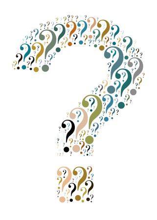 question mark icon: Question mark symbol and arrangement concept on white background  word cloud