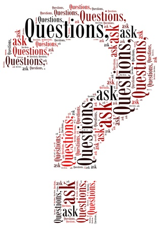 Question mark symbol and arrangement concept on white background  word cloud