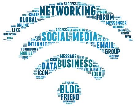 Social media info text graphic and arrangement concept.