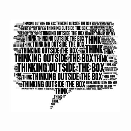 Think outside the box info text graphics arrangement concept