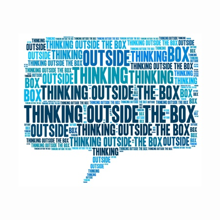 Think outside the box info text graphics arrangement concept