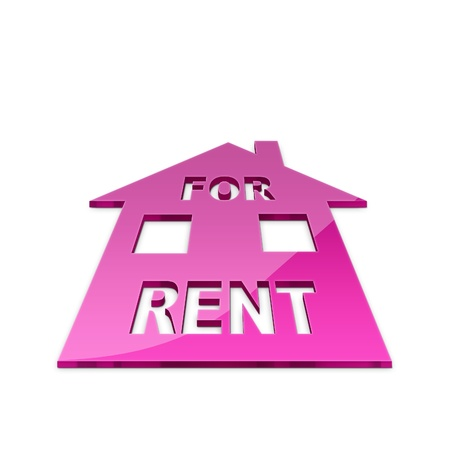 property for sale: 3d illustration of house for rent sign