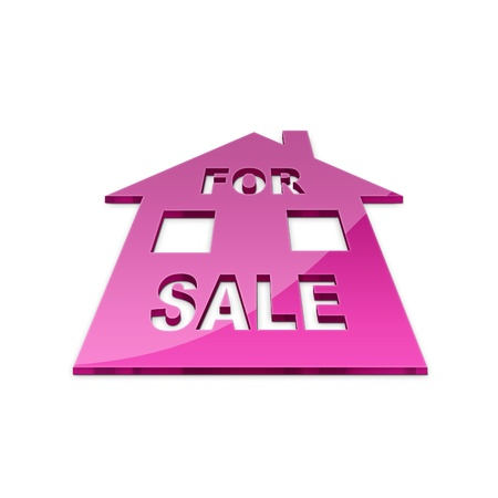 3d illustration of house for sale sign