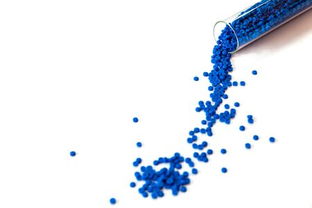 Close-up of plastic polymer granules, polymer plastic, polymer pallet, Plastic ball.