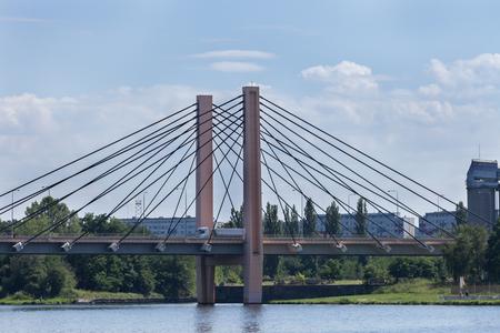 Milenijny bridge over the Oder Wroclaw Stock Photo