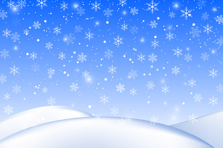 Falling snow background. Realistic snowdrift. Vector illustration with snowflakes. Winter snowy landscape. Eps 10.