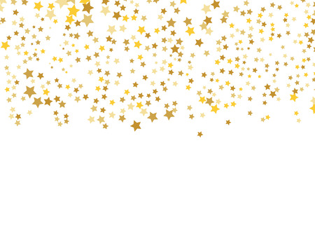 Gouden stervector. Glans confetti patroon. Vallende glanzende sterren. Gouden sterrenprint. Simpel ontwerp. Eps10. Vector Illustratie