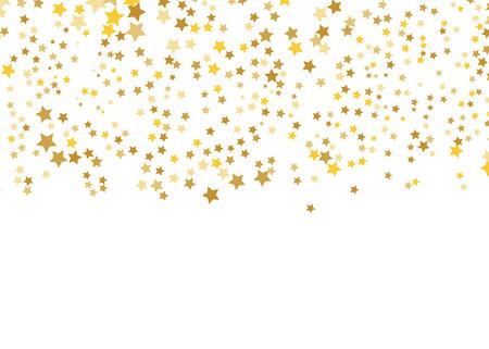 Złota gwiazda wektor. Połysk konfetti wzór. Spadające błyszczące gwiazdy. Złoty nadruk gwiaździsty. Prosta konstrukcja. Eps10. Ilustracje wektorowe