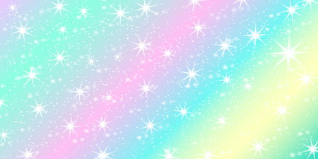 Unicorn rainbow background. Holographic sky in pastel color. Bright mermaid pattern in princess colors. Vector illustration. Fantasy gradient colorful backdrop with rainbow mesh.