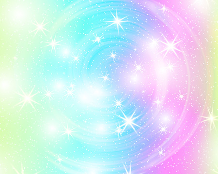 Unicorn rainbow background. Holographic sky in pastel color. Bright mermaid pattern in princess colors. Vector illustration. Fantasy gradient colorful backdrop with rainbow mesh. Ilustração Vetorial