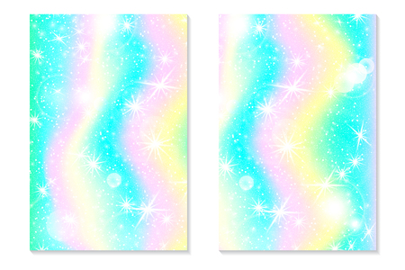 Unicorn rainbow background. Holographic sky in pastel color. Bright hologram mermaid pattern in princess colors. Vector illustration. Unicorn Fantasy gradient colorful rainbow backdrop. Reklamní fotografie - 118651115