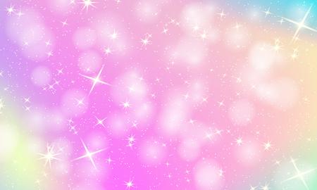 Fondo de arco iris de unicornio. Cielo holográfico en color pastel. Patrón de sirena brillante en colores princesa. Ilustración de vector. Fondo colorido degradado de fantasía con malla de arco iris.