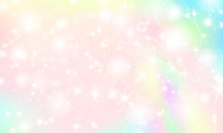 Sfondo arcobaleno unicorno. Sfondo colorato kawaii con maglia arcobaleno. Cielo olografico in colori pastello. Brillante motivo a sirena nei colori della principessa. Illustrazione vettoriale.