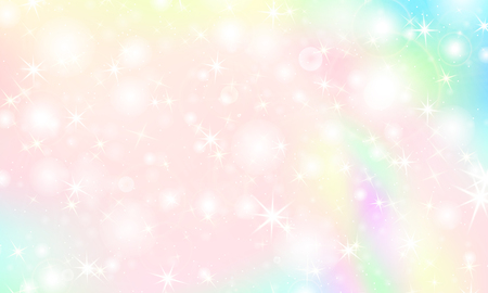 Unicorn rainbow background. Kawaii colorful backdrop with rainbow mesh. Holographic sky in pastel color. Bright mermaid pattern in princess colors. Vector illustration. Vettoriali