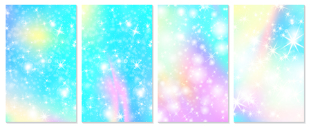 Unicorn rainbow background. Holographic sky in pastel color. Bright hologram mermaid pattern in princess colors. Vector illustration. Unicorn Fantasy gradient colorful rainbow backdrop.