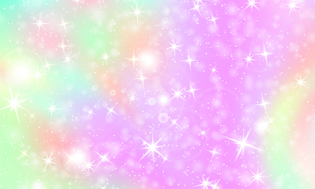 Unicorn rainbow background. Kawaii colorful backdrop with rainbow mesh. Holographic sky in pastel color. Bright mermaid pattern in princess colors. Vector illustration. Ilustração