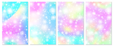 Unicorn rainbow background. Holographic sky in pastel color. Bright hologram mermaid pattern in princess colors. Vector illustration. Unicorn Fantasy gradient colorful rainbow backdrop. Vettoriali