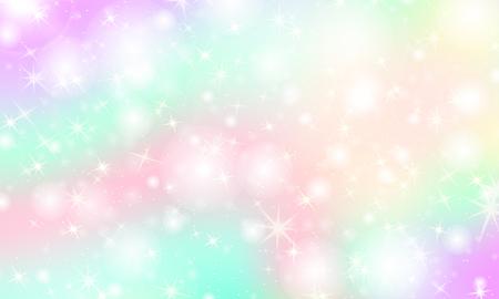 유니콘 무지개 배경입니다. 무지개 메쉬가 있는 가와이이 화려한 배경. 파스텔 색상의 홀로그램 하늘입니다. 공주 색상의 밝은 인어 패턴. 벡터 일러스트 레이 션. 벡터 (일러스트)